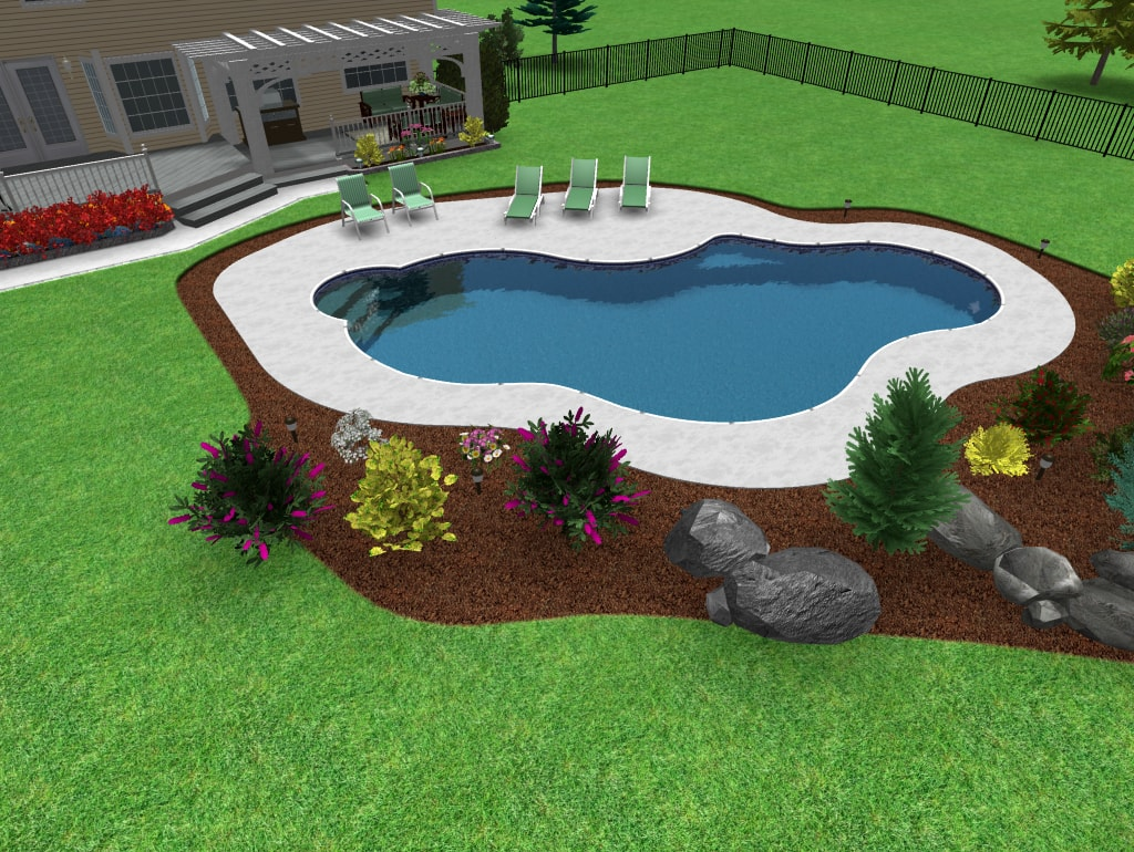 Free Form Swimming Pool with Brick Coping