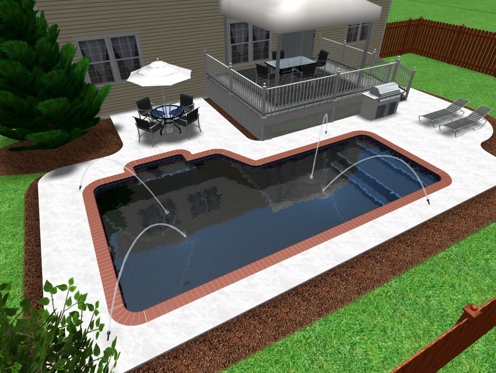 "Short ""L"" Rectangle Swimming Pool with Deck Jets"